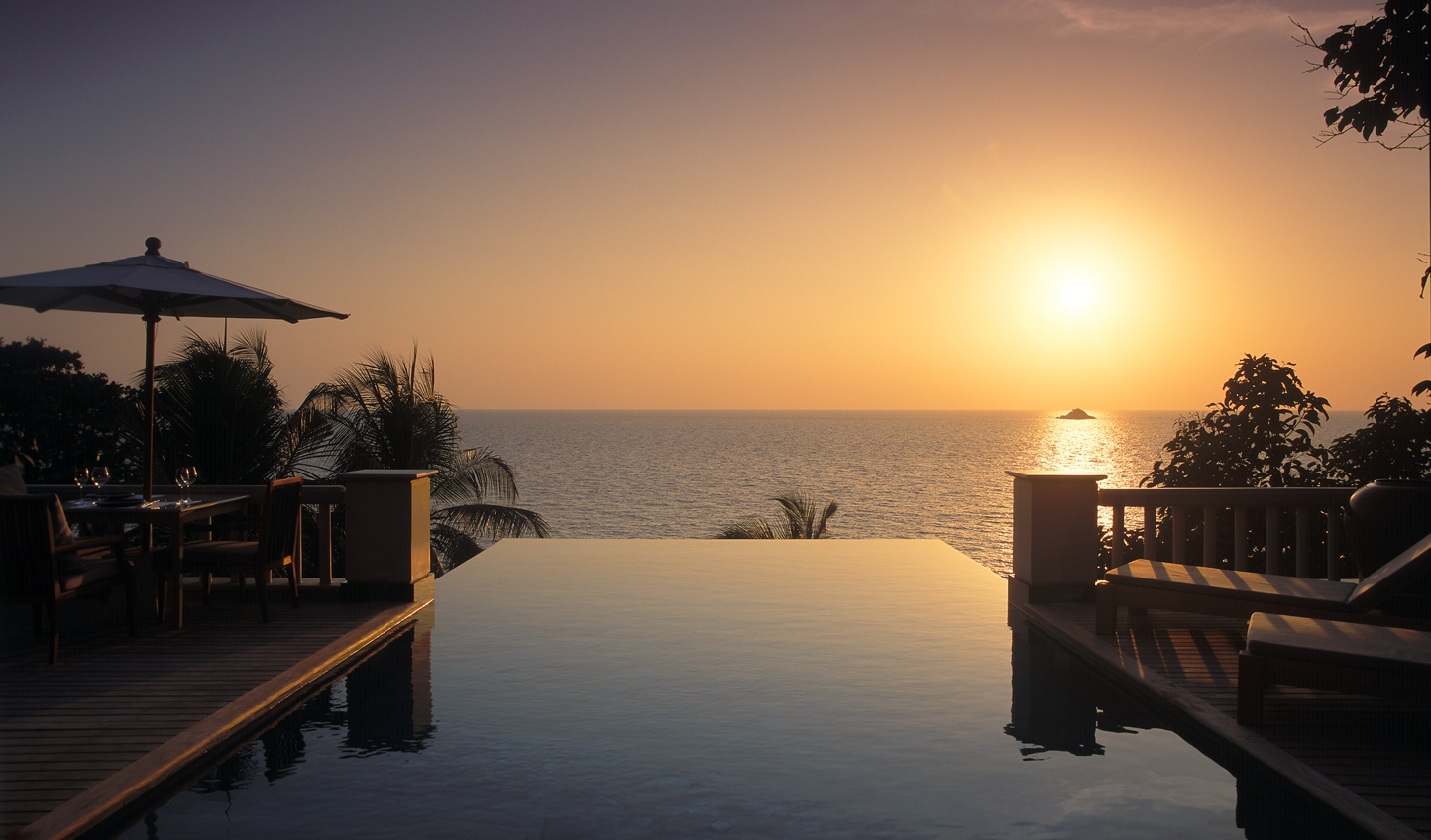 Admire stunning sunsets from your private infinity pool