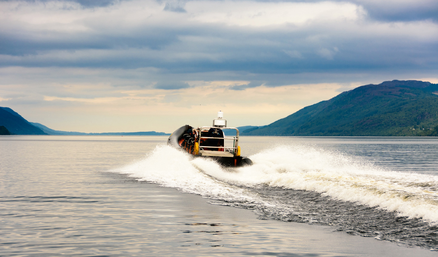 Speed across Loch Ness in search of mythical beasts