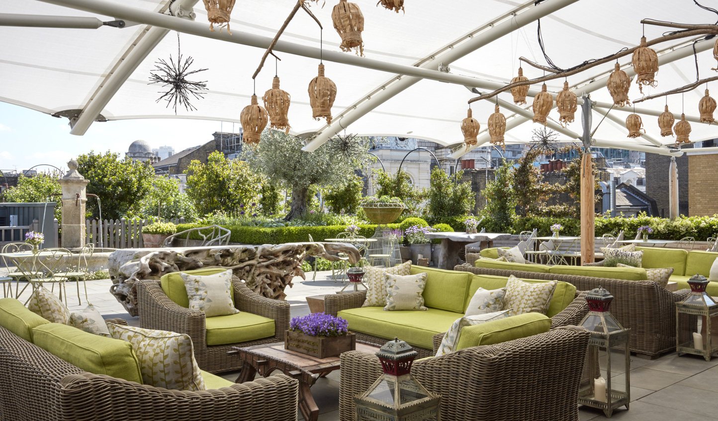 Head up to the roof terrace bar for amazing views over London