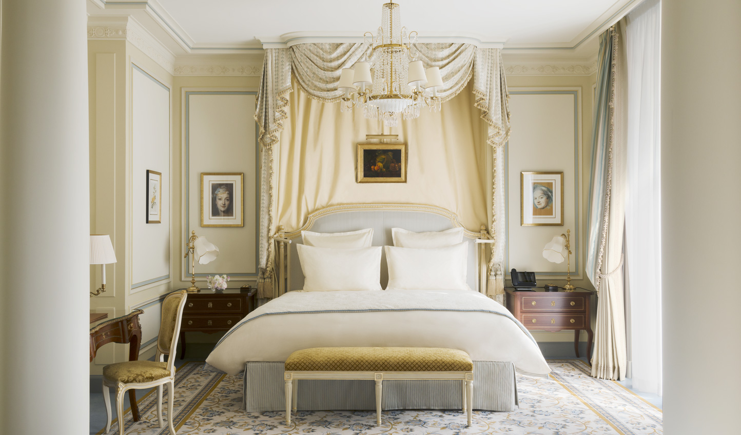 Timeless glamour will greet you in your Ritz room