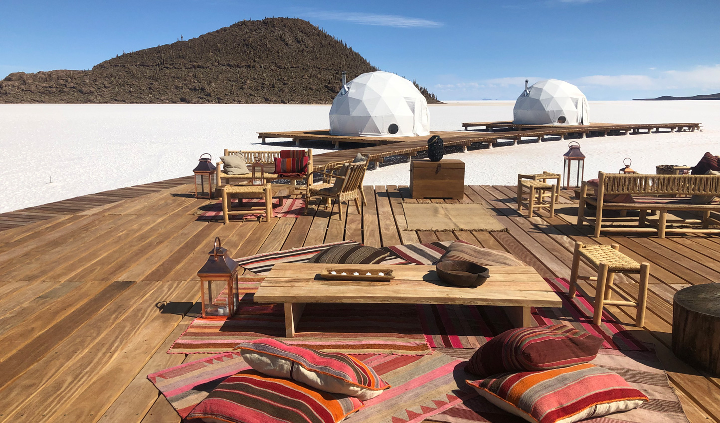 Unwind beneath bright blue skies and the bright white salt flats