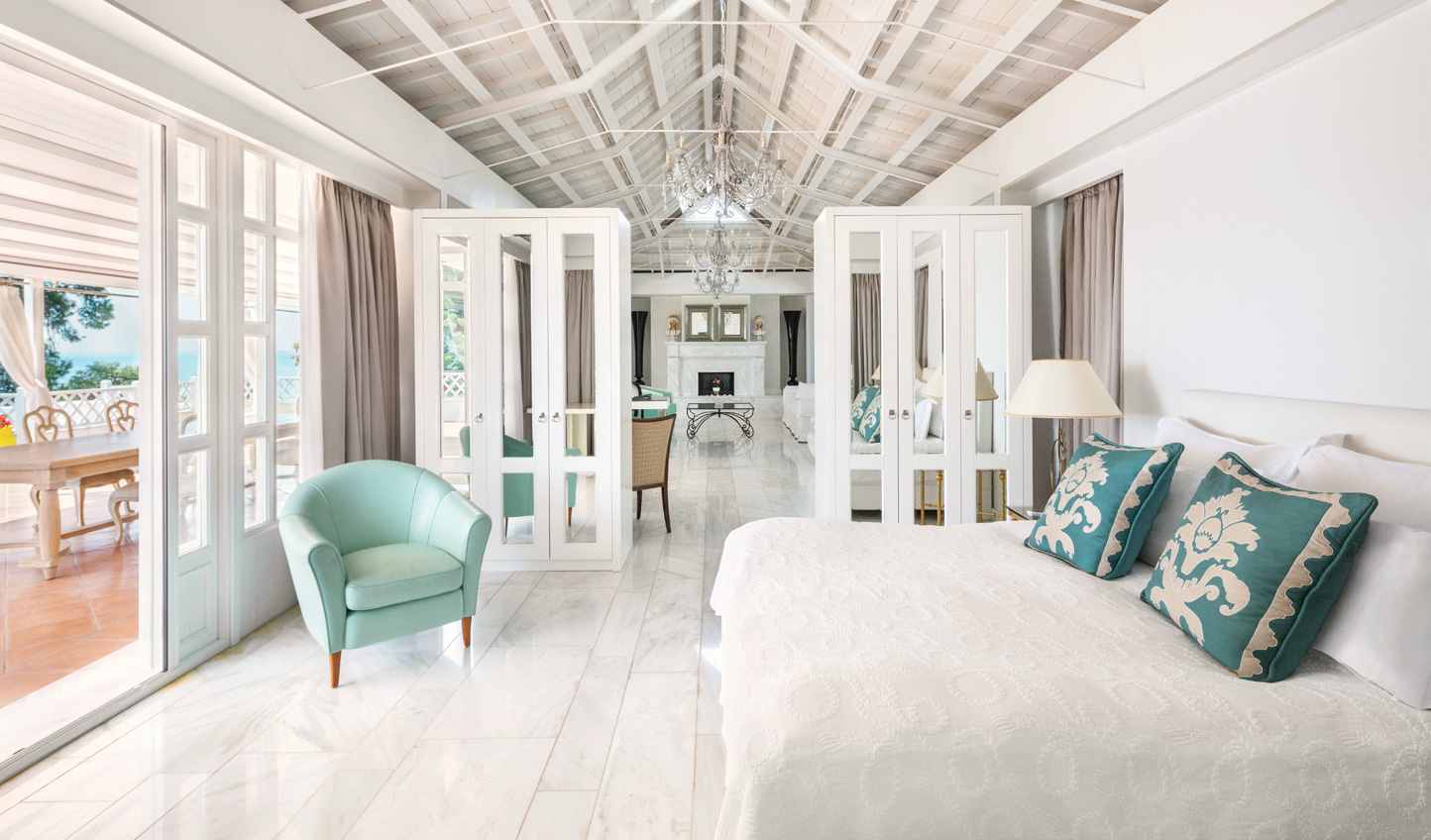 All white interiors are given a splash of Mediterranean blue