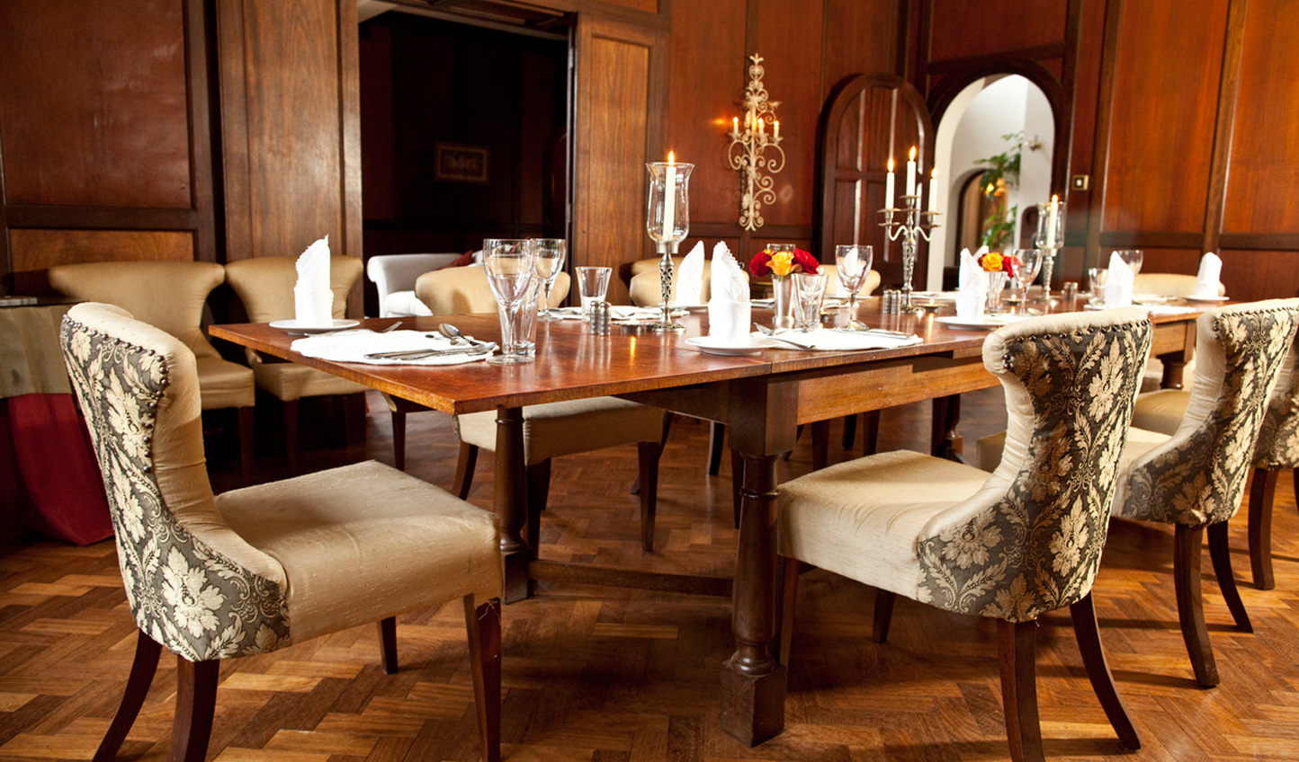 Delicious food is served in the opulent dining room