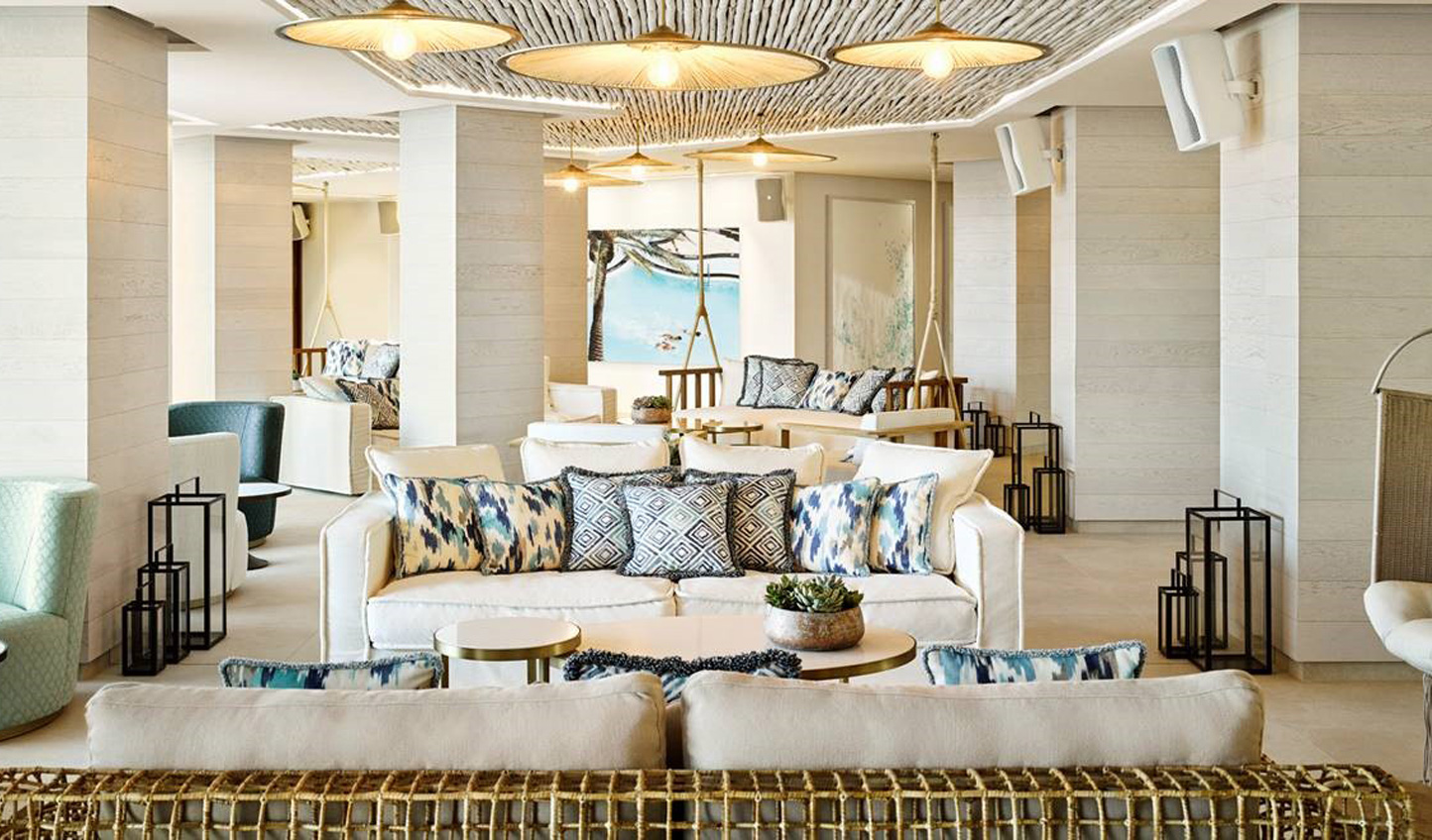 White and blue accents create super chic and stylish hotel