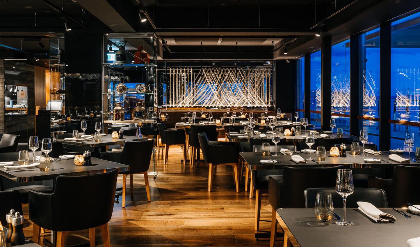 The sleek Old Wharf Restaurant