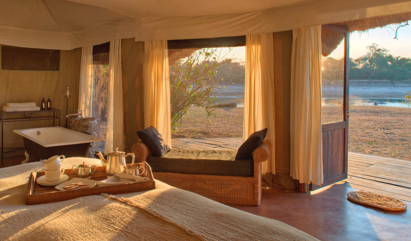 Step out of your room right into the South Luangwa National Park