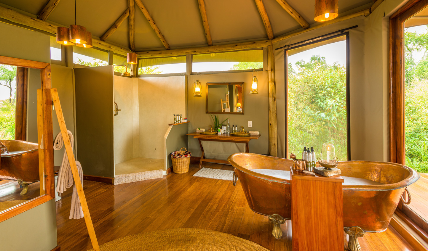 Enjoy the luxury of your tent as you sink into a copper bathtub