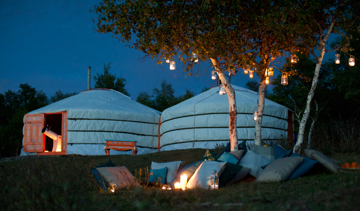 Spend your nights camped out in traditional gers