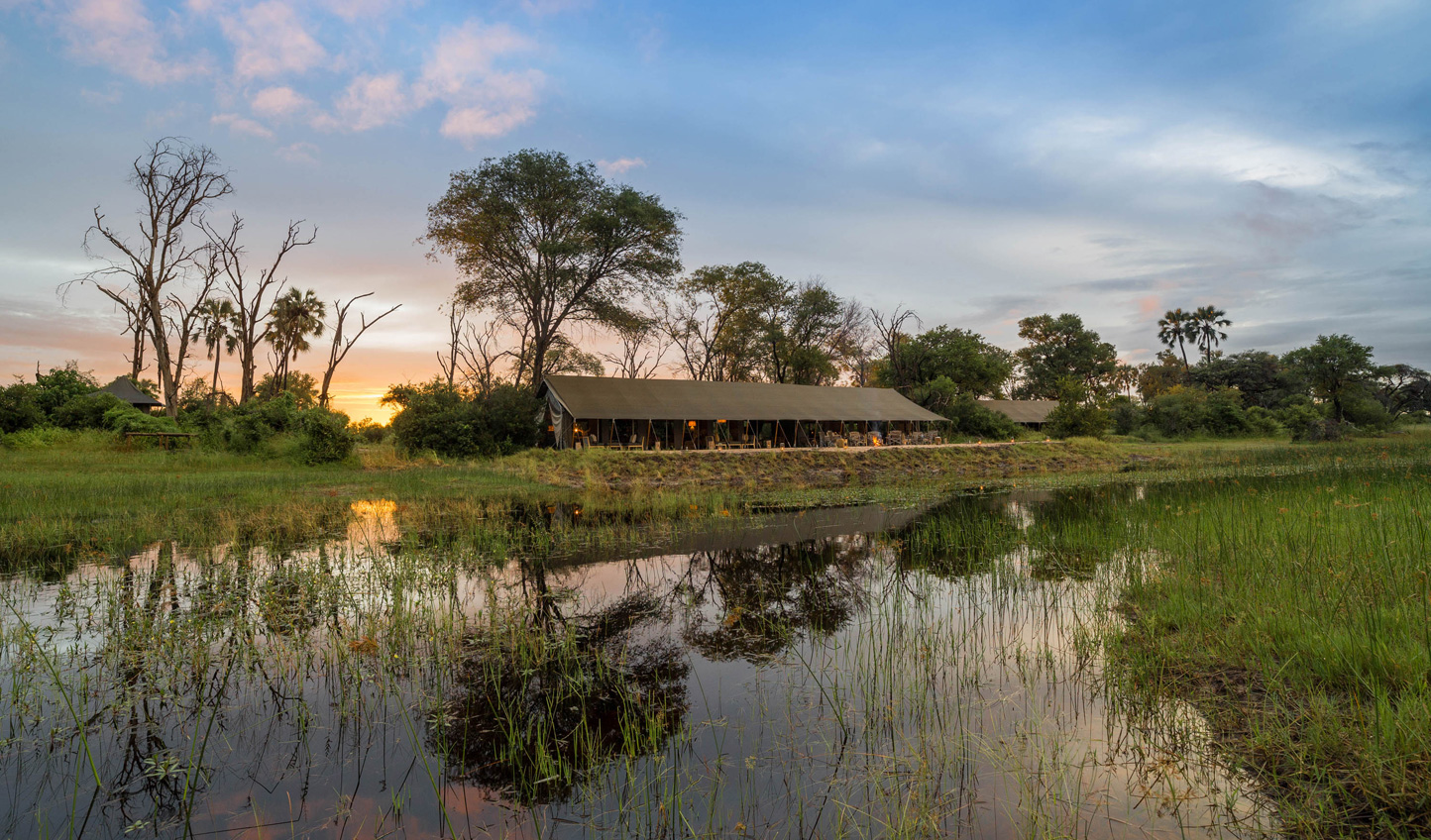 The idyllic Gomoti Plains Camp in the heart of the Delta
