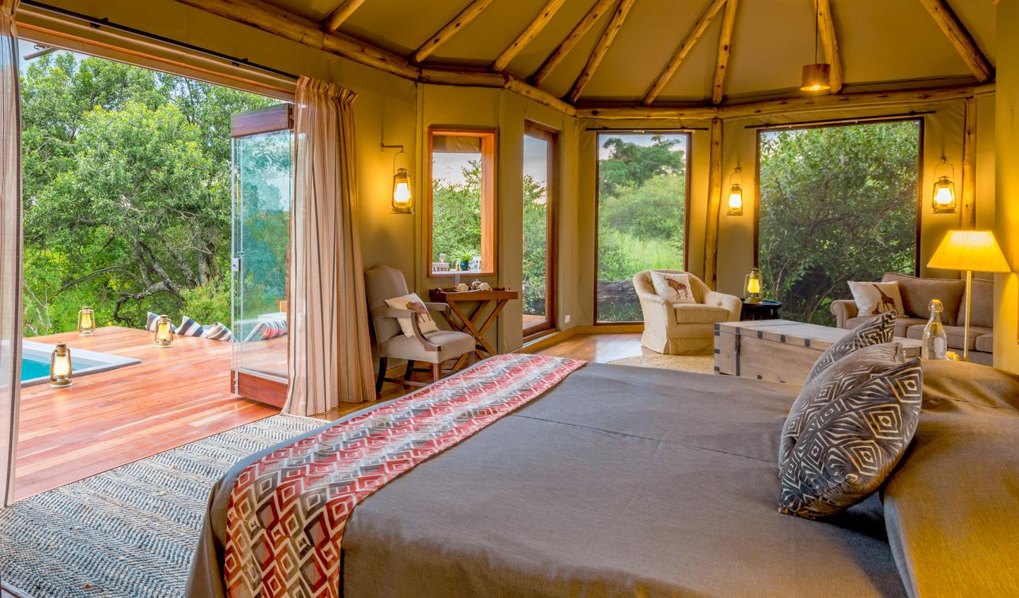 Wake up to beautiful views out to the Mara at Sala's Camp