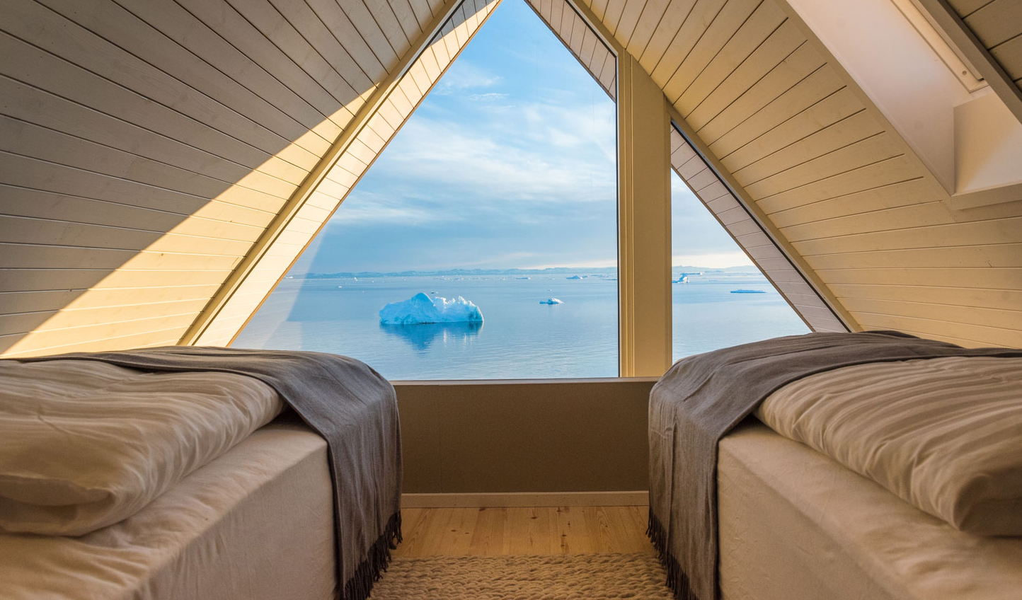 The incredible bedroom view at Ilimanaq Lodge