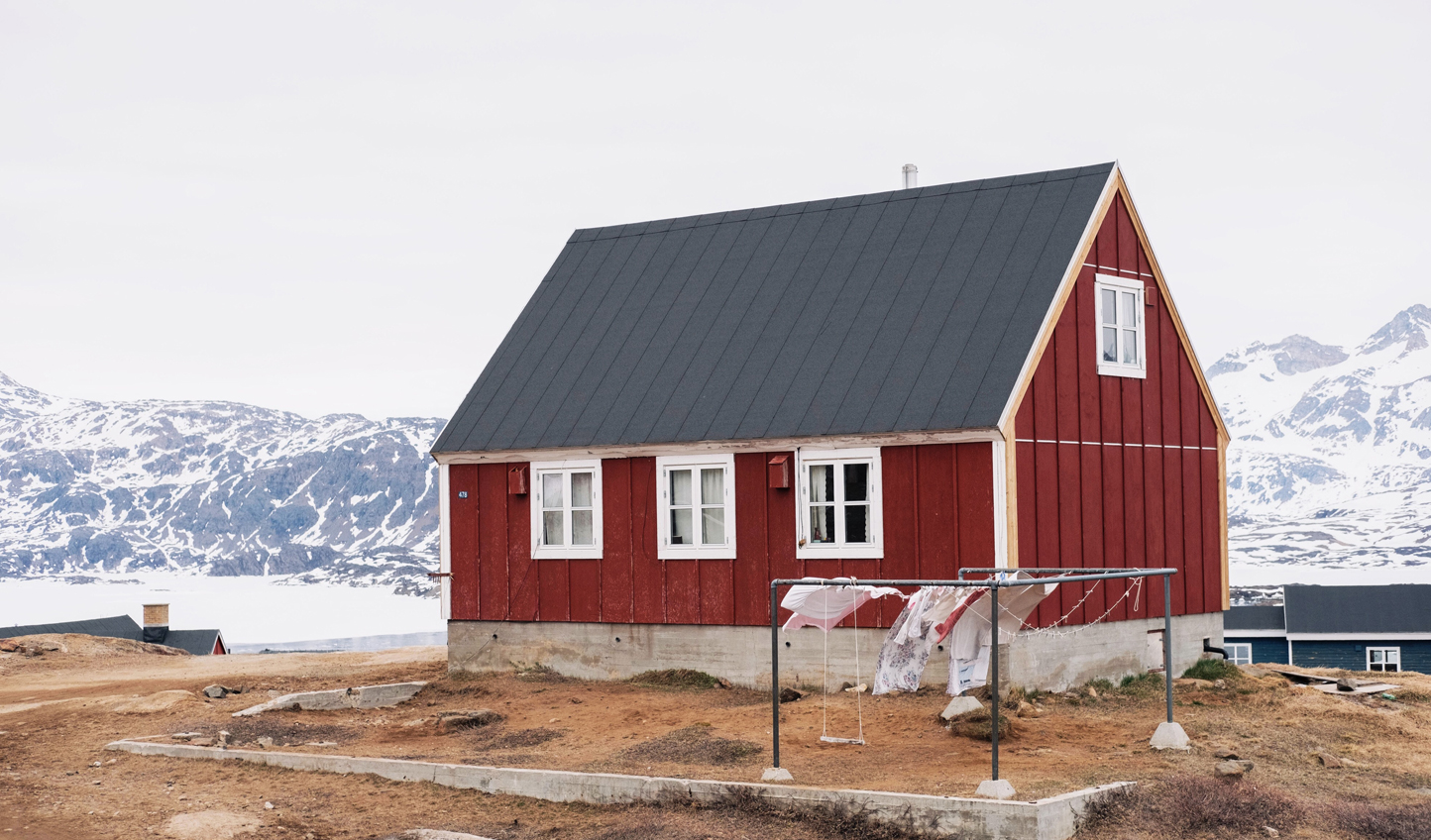 Red hut architecture can be seen all over Greeland
