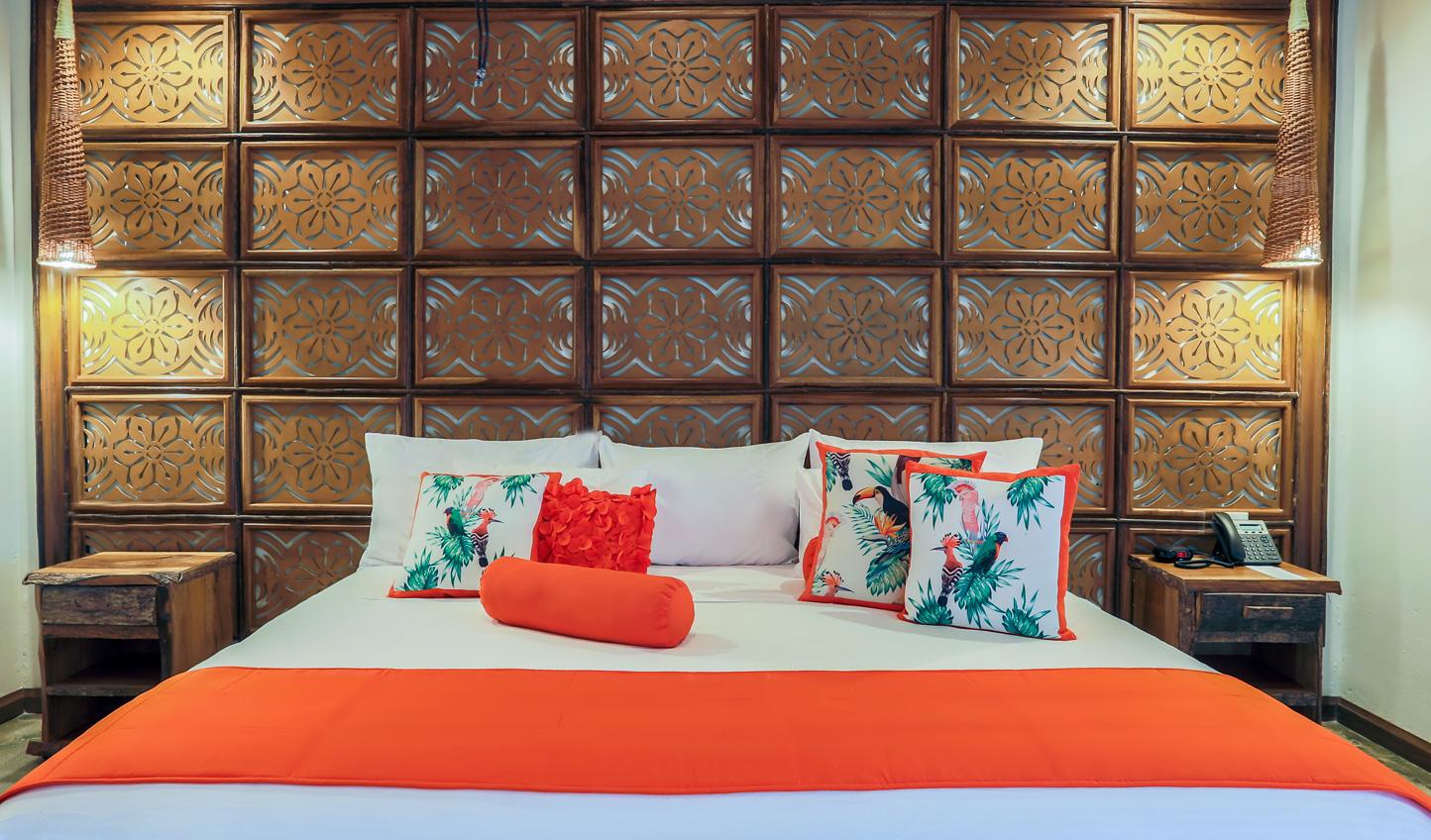 Vibrant colour accents make the suites pop