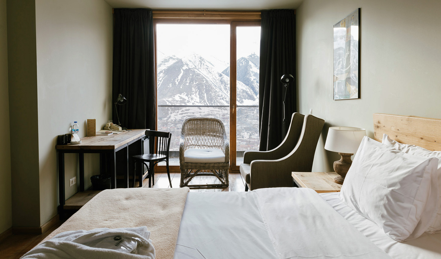 Wake up to otherworldly views of the Caucasus Mountains