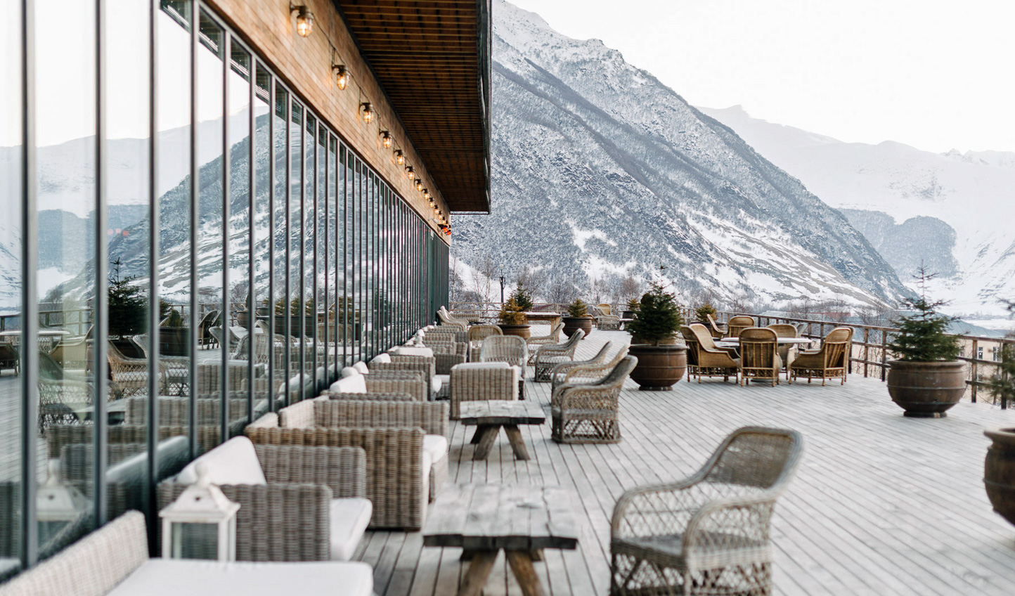 Swing by the terrace for apres-ski in winter and al-fresco lunch in summer