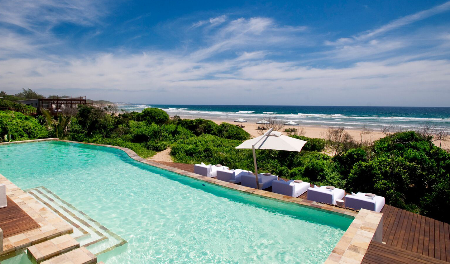 The main pool at White Pearl, overlooking the Indian Ocean