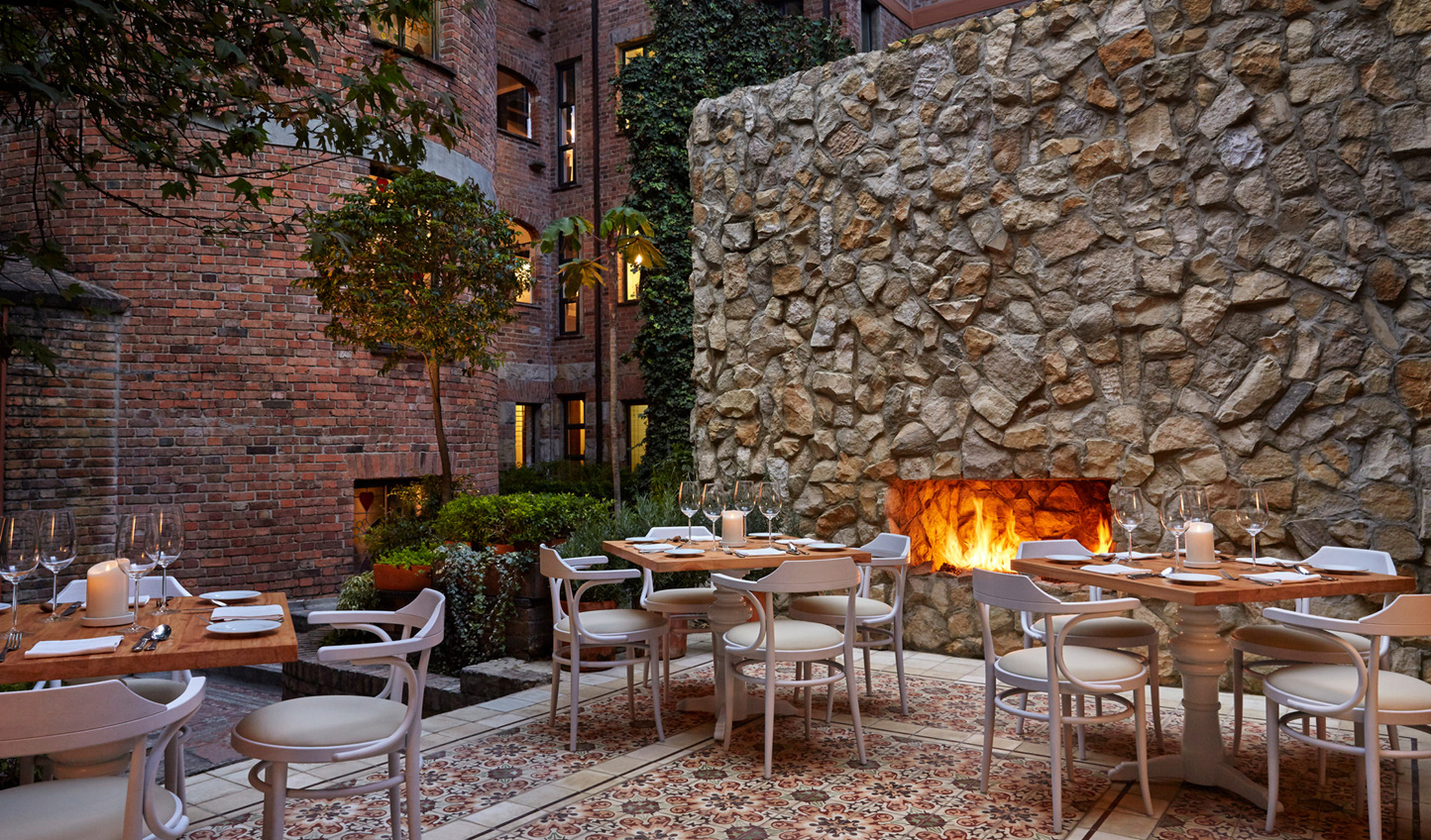 The outdoor courtyard is perfect for sampling local delicacies
