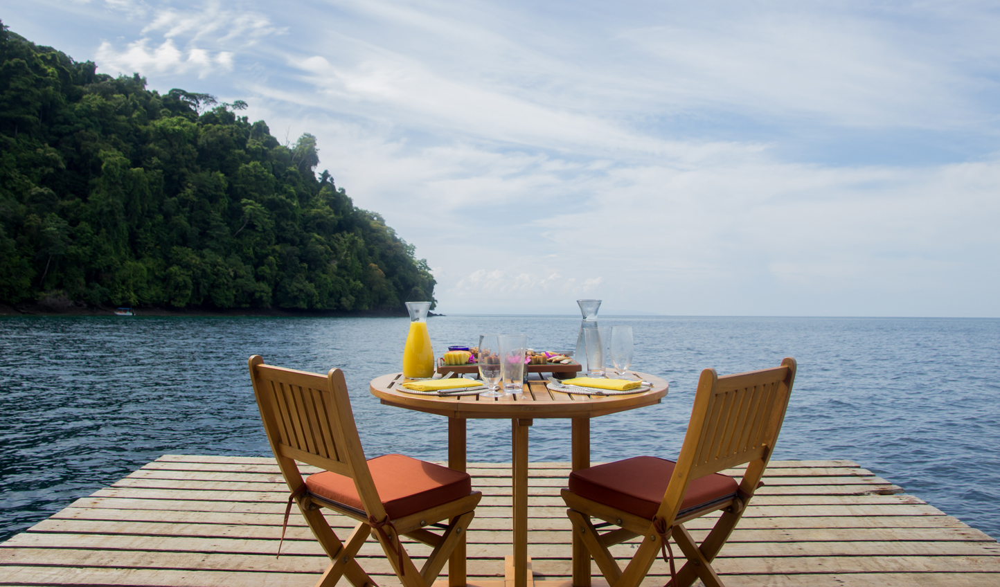 Watch dolphins while you dine on the dock