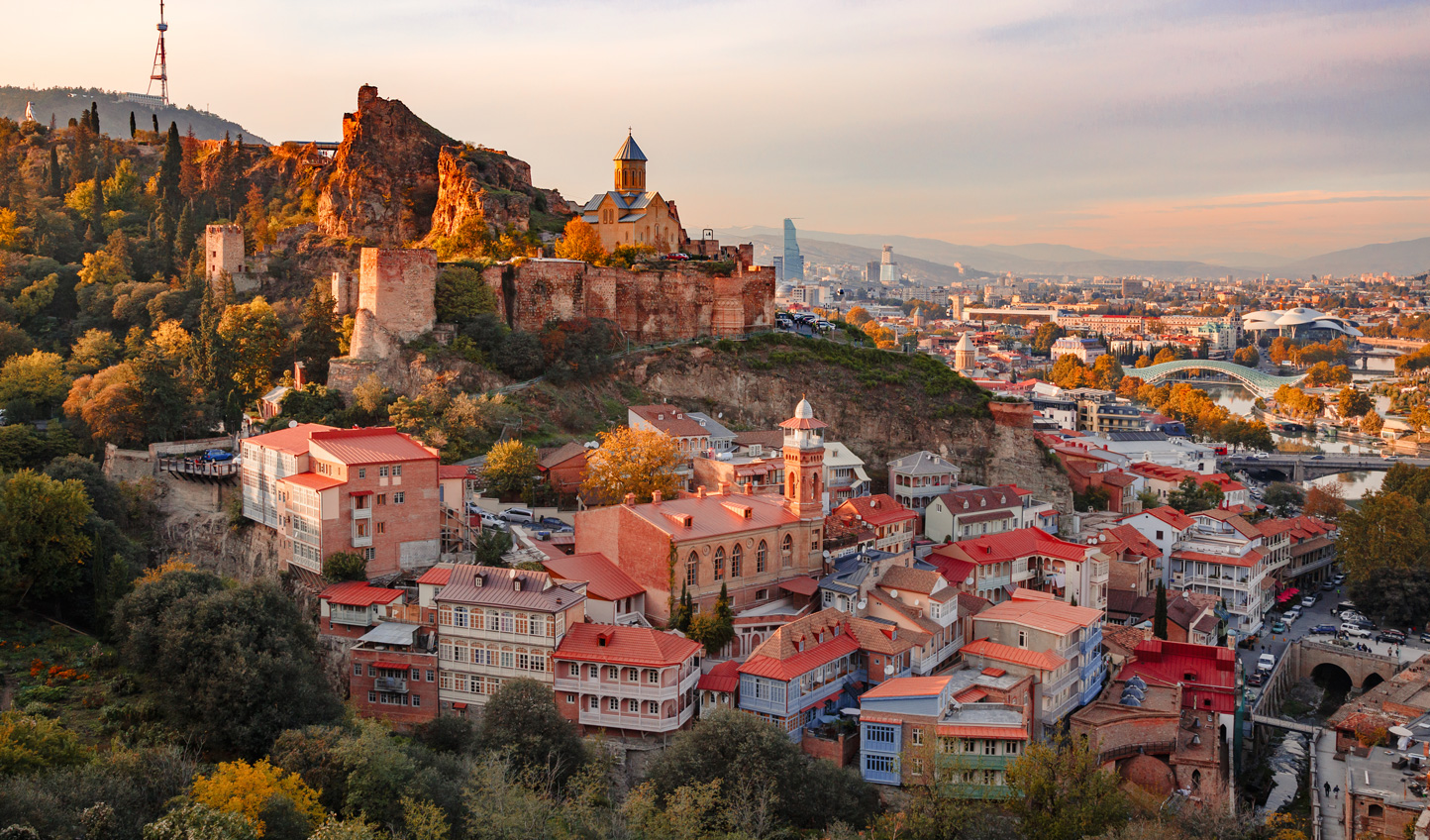 Dusk settles over Tbilisi's Old Town to give it an ethereal glow