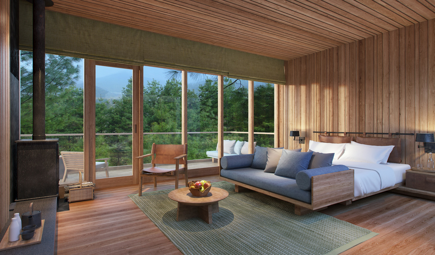 Natural materials place emphasis on surrounding landscapes at Six Senses Bumthang