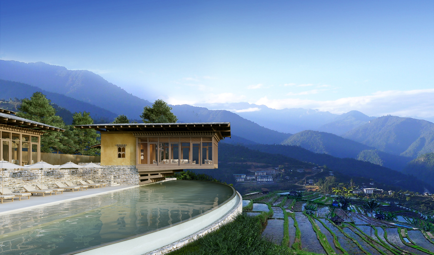 Intimate lodges with showstopping design, look out over the valley from Six Senses Punakha