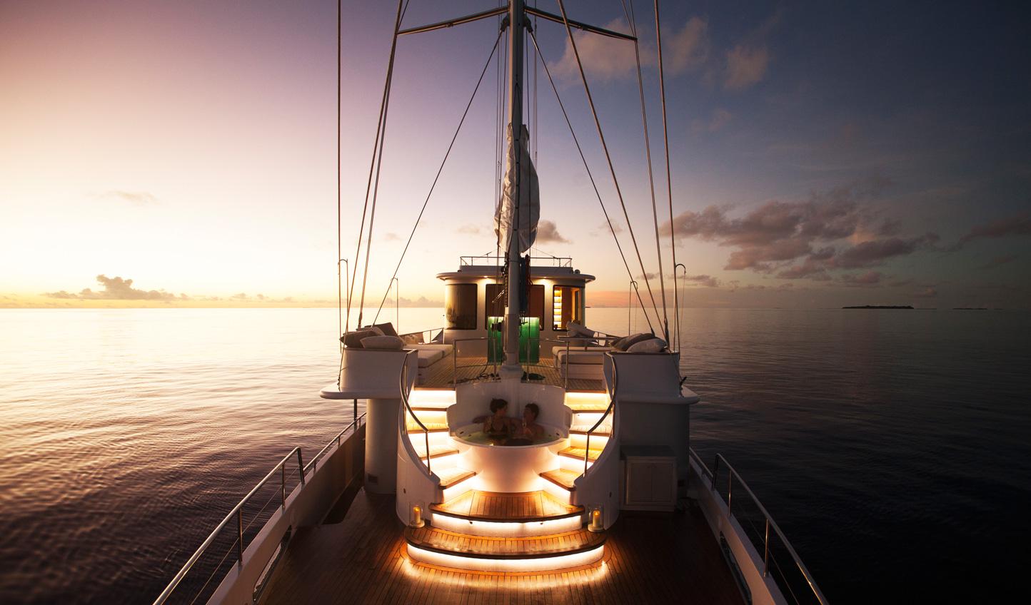 Soak away in the jacuzzi on board Soneva in Aqua