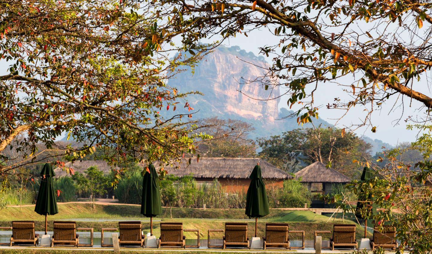 Enjoy uninterrupted views of Sigirya Rock from the comfort of your sunlounger