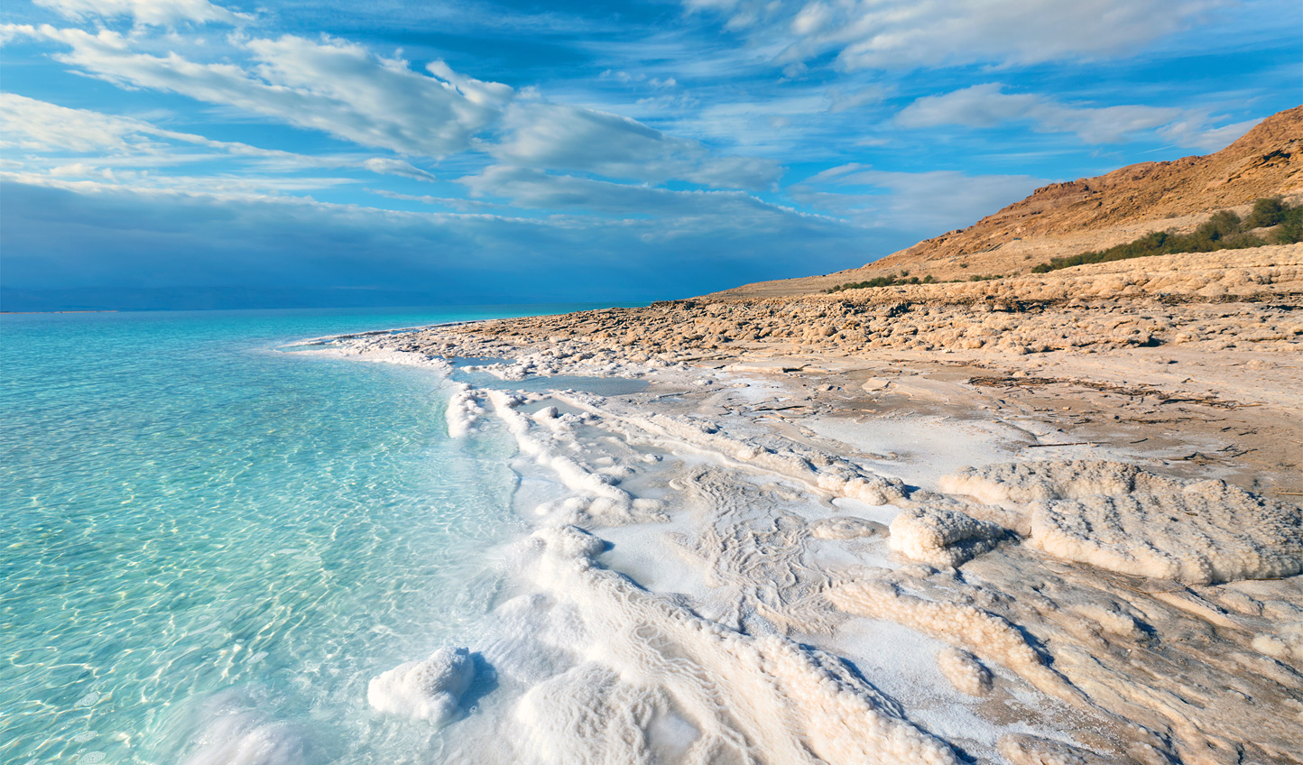 Walk the salt crusted shores of the Dead Sea