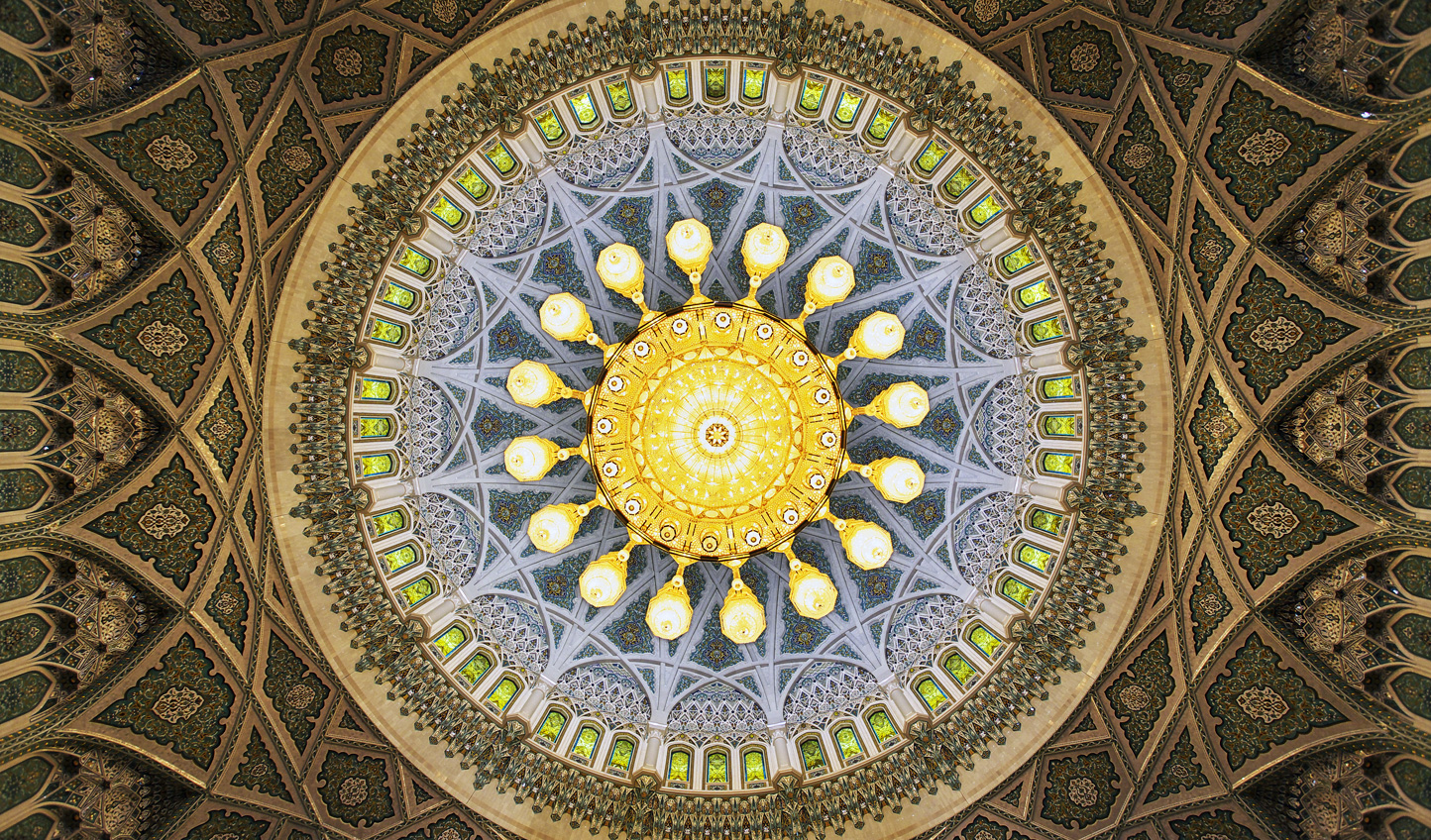 Be sure to turn your gaze upwards when you walk into the Sultan Qaboos Grand Mosque