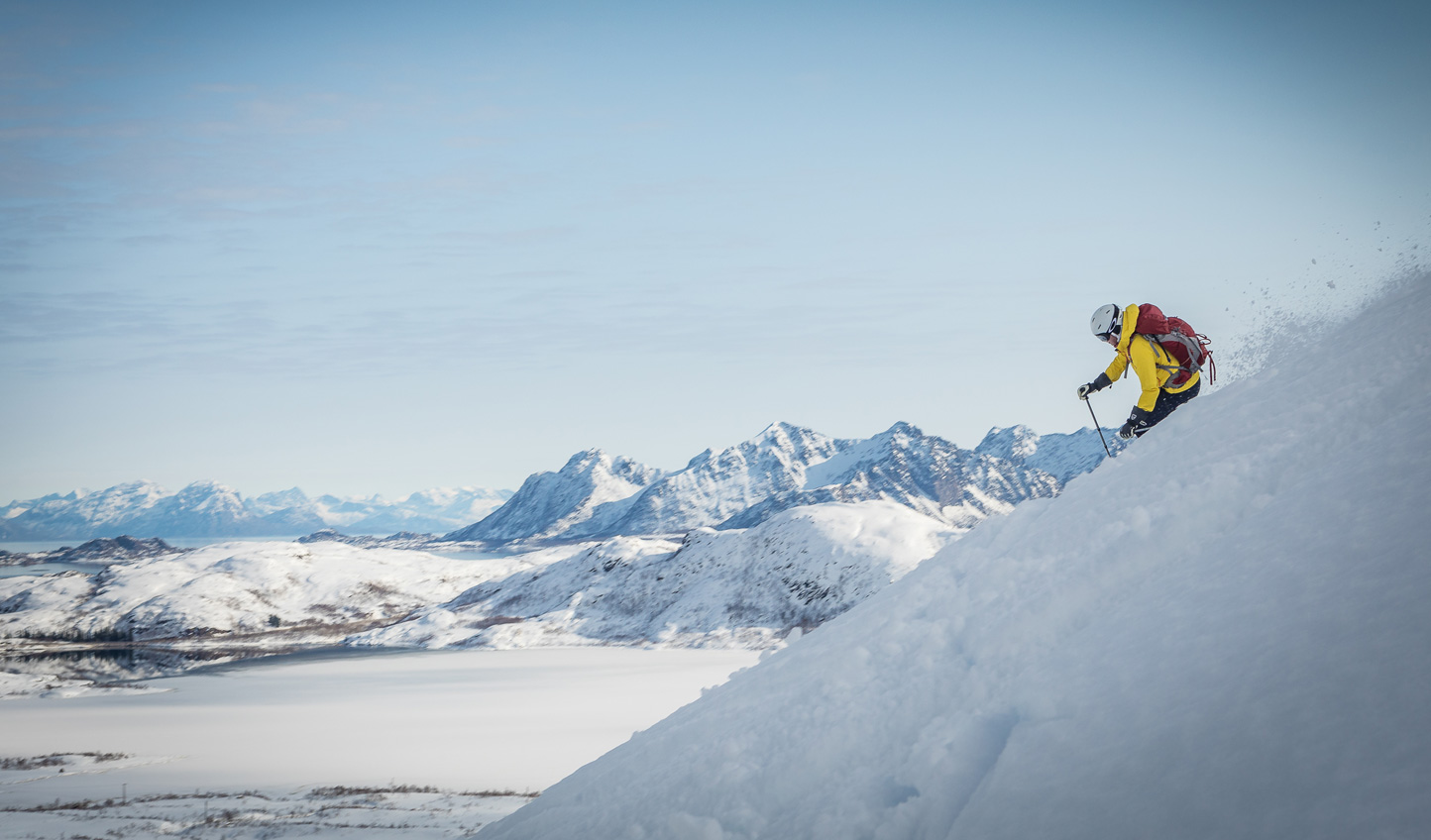 Pick a peak and carve a route as you ski through the uncharted territory of the Lofoten Islands