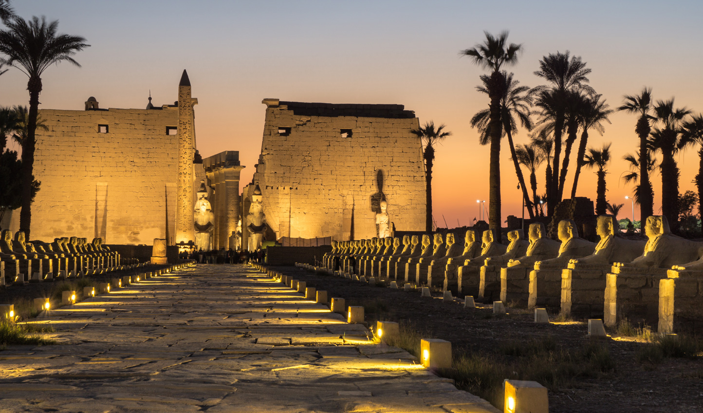 Visit Luxor Temple at night as it lights up to bring an ethereal glow to the desert