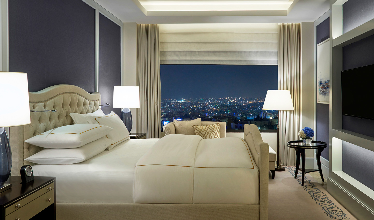 Beautiful suites lit up by the bright city lights of Amman
