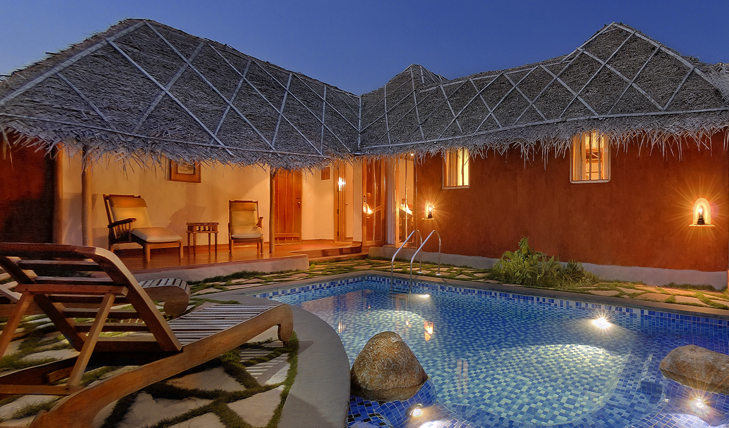 Check into one of the spacious Pool Huts and simply relax