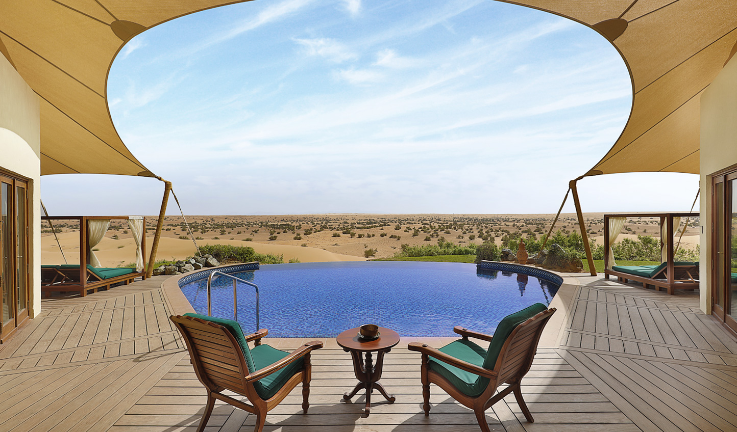 Al Maha boasts unbelievable views from every corner of the resort, but the view from the Presidential Suite pool is out of this world