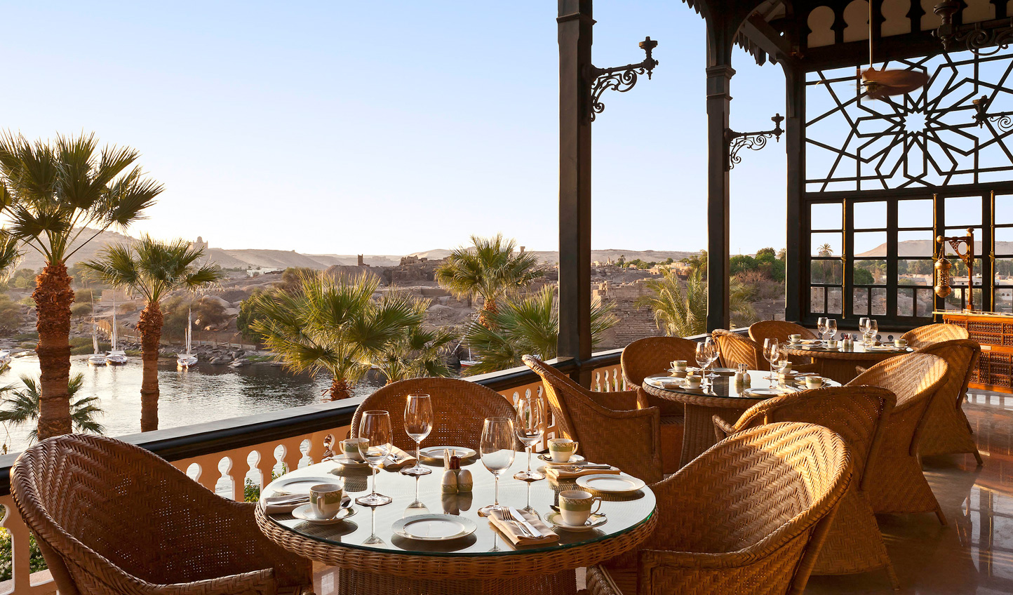 Sit down to dinner just as the sun begins to dip low and bathe the Nile in a golden glow