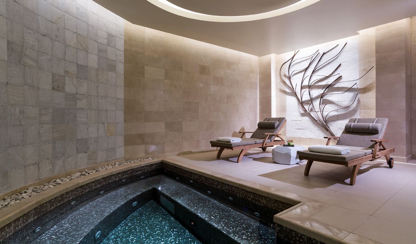 The intimate plunge pool is just one highlight of visiting the Rosewood Sense Spa