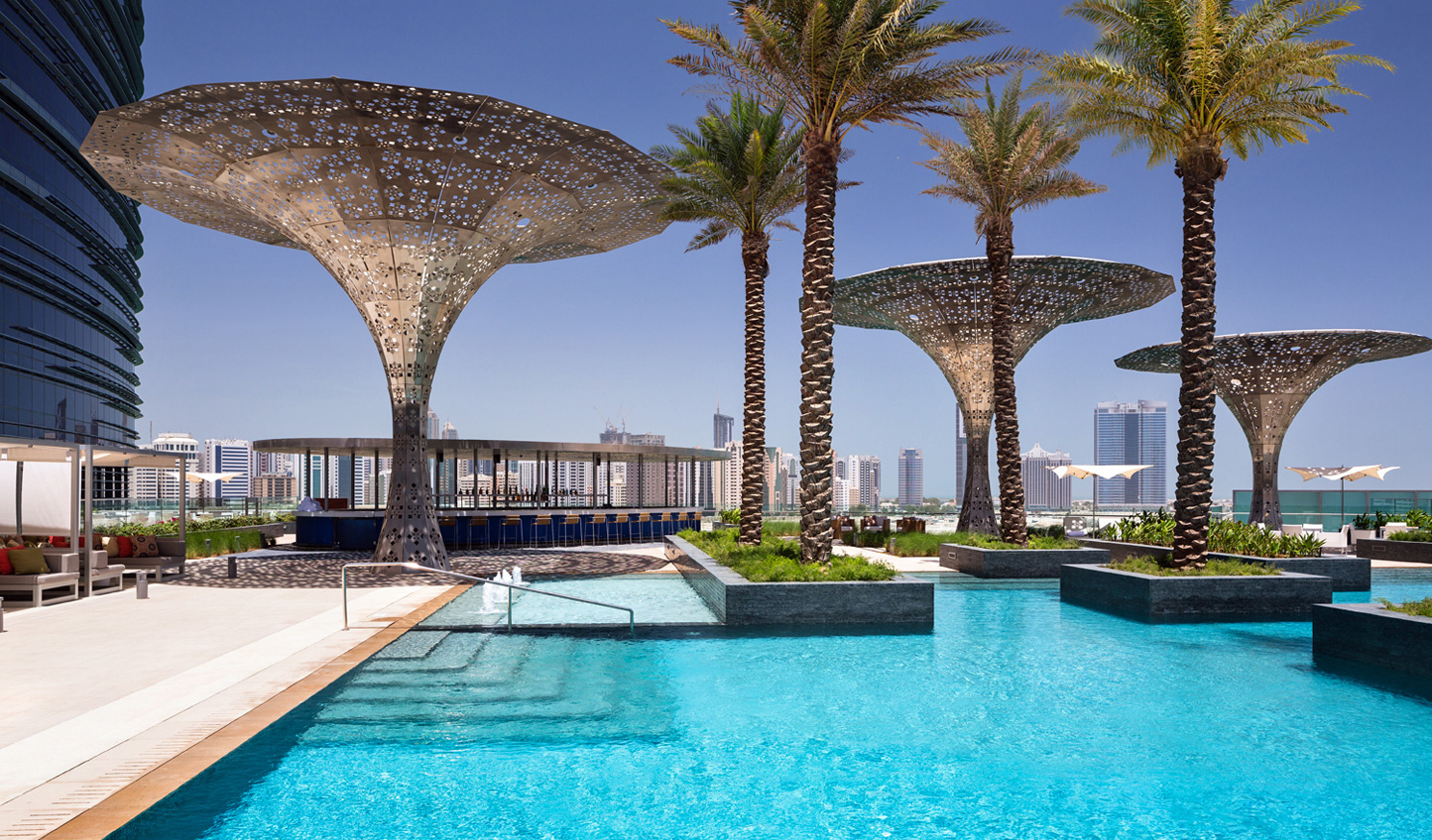 The 25 metre outdoor pool will help take the heat off Abu Dhabi days