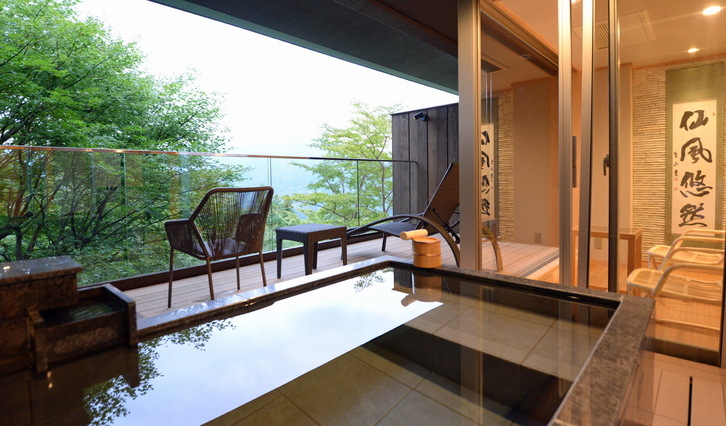 Open to the elements, slip into your onsen to a soundtrack of birdsong and the whistling of the wind
