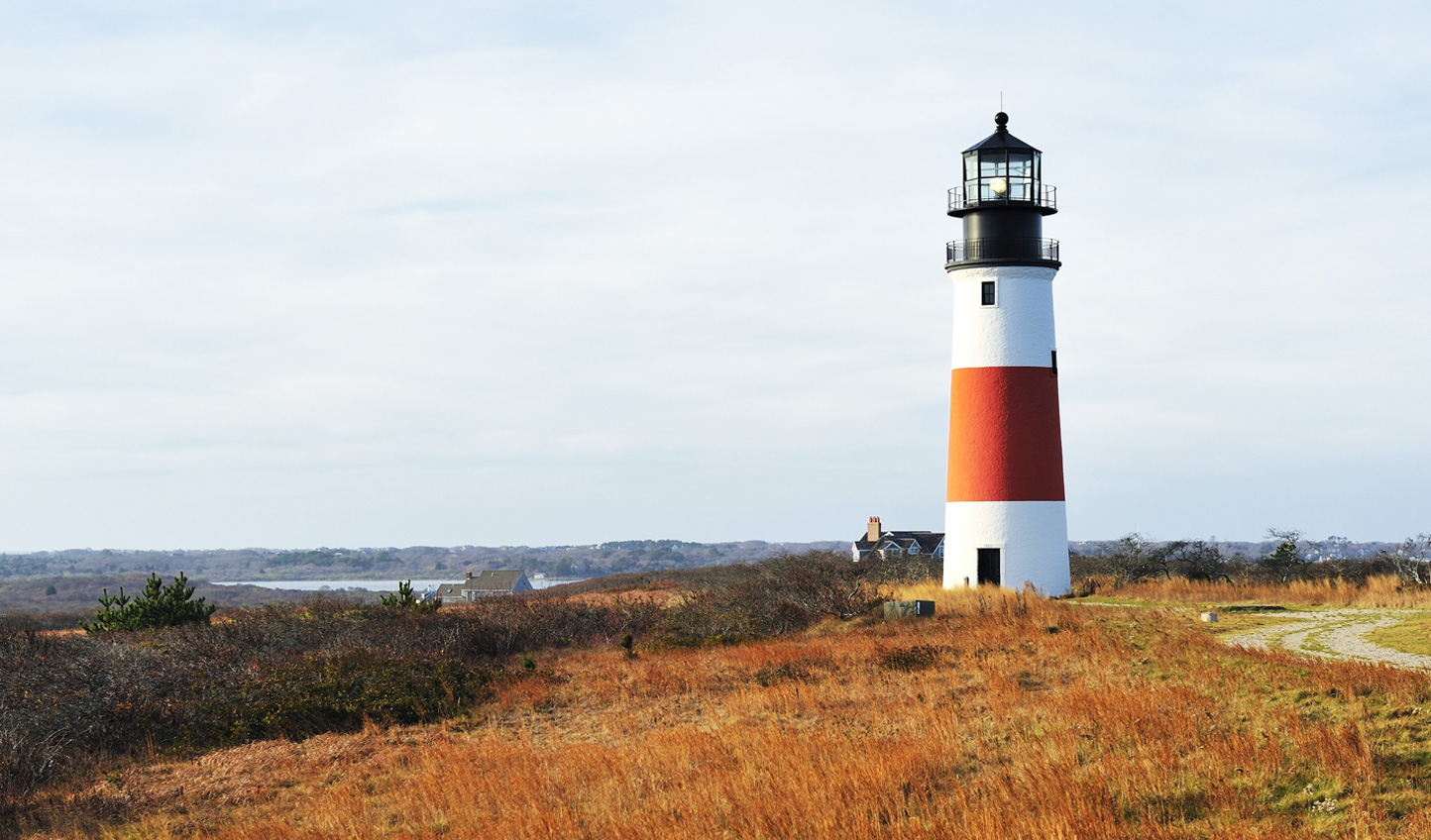 The Sankaty Head Lighthouse on the eastern shore of Nantucket Island
