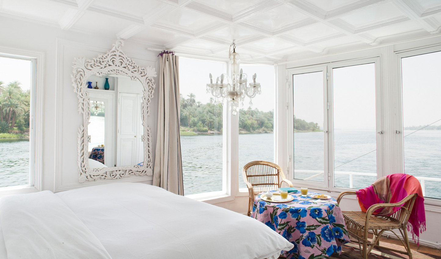 The spacious panoramic suites onboard Meroe open onto beautiful views of the Nile