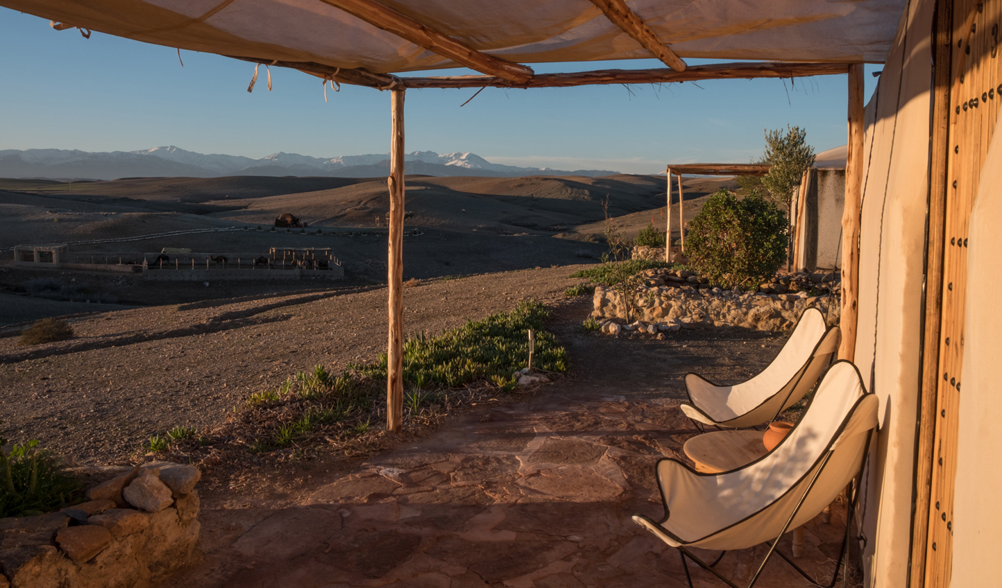 Sit out on your private porch and watch the sun dip down into the desert