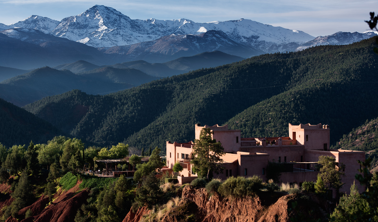 Set within the beautiful landscape of the Atlas Mountains; looking down to the Ourika valley and up to the snowcapped mountains
