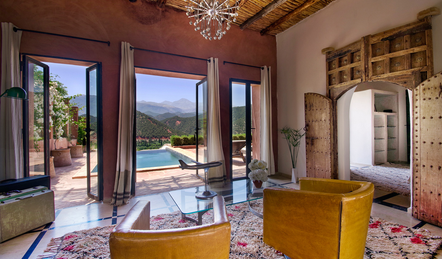 Retreat to the Kasbah Bab Ourika Villa for stylish interiors and a private pool