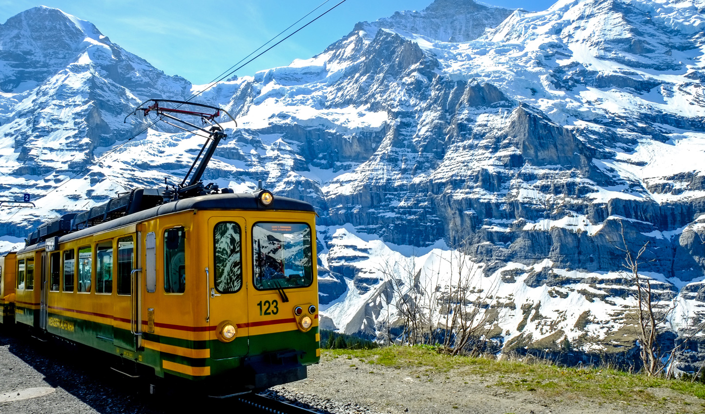 Catch Jungfraubahn up the steep mountain track to discover something extraordinary