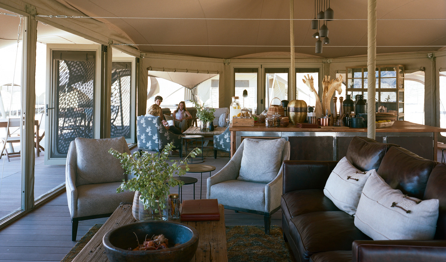 Relax in the main tent after a morning game drive