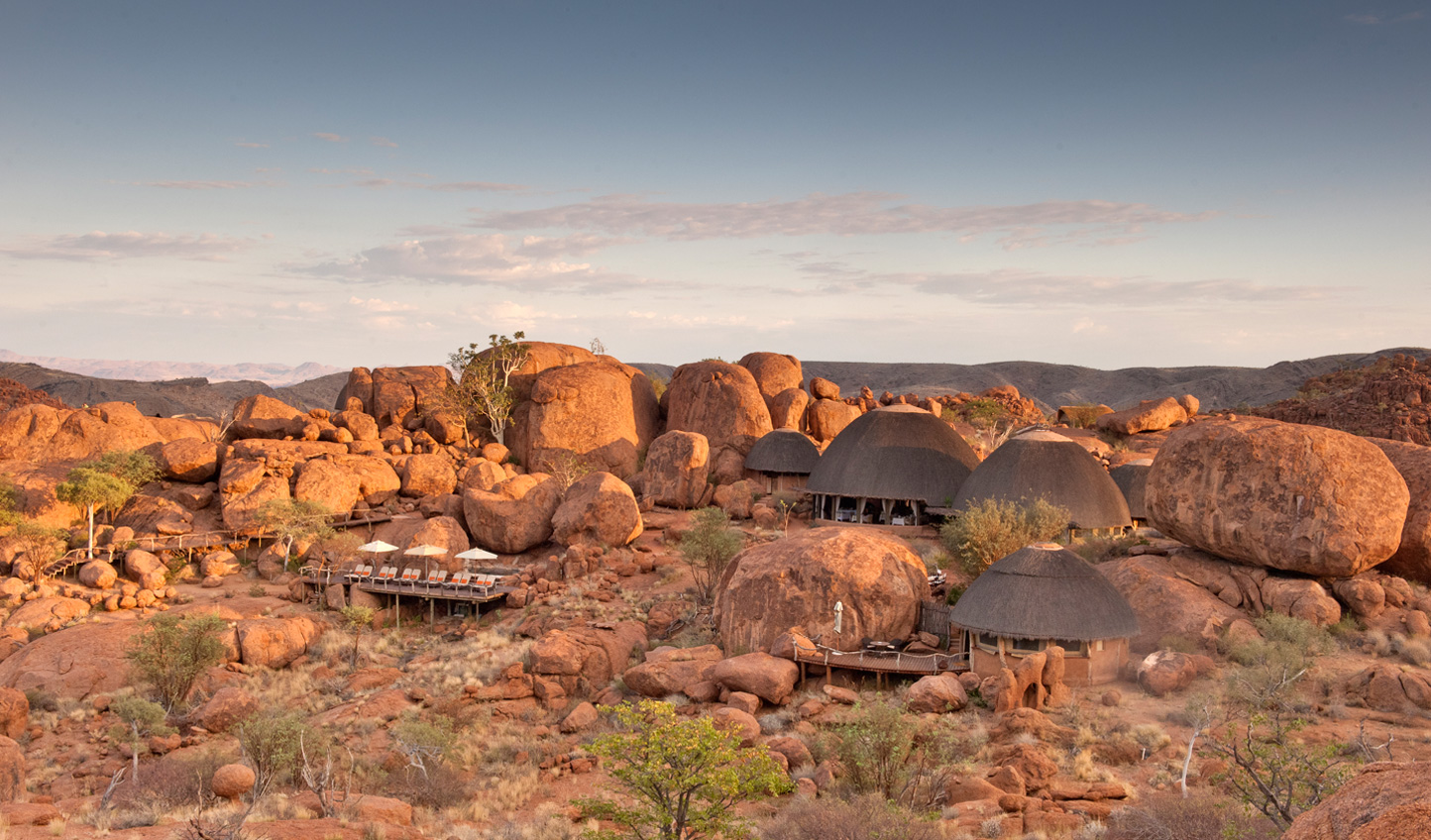 Tucked away amongst the dusty desert boulders lies Mowani Mountain Camp