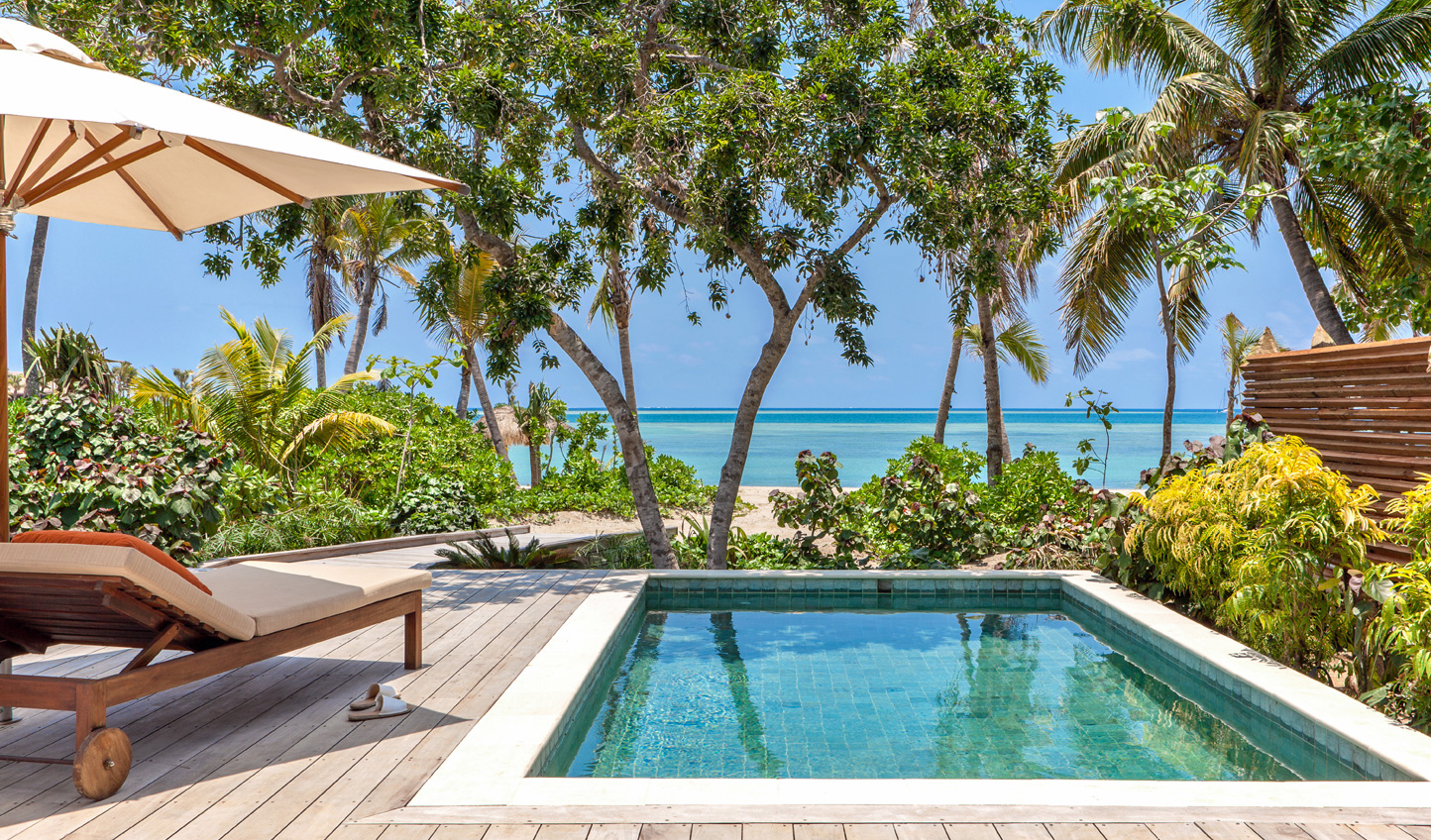 Step straight from your private pool into the ocean at Six Senses Fiji