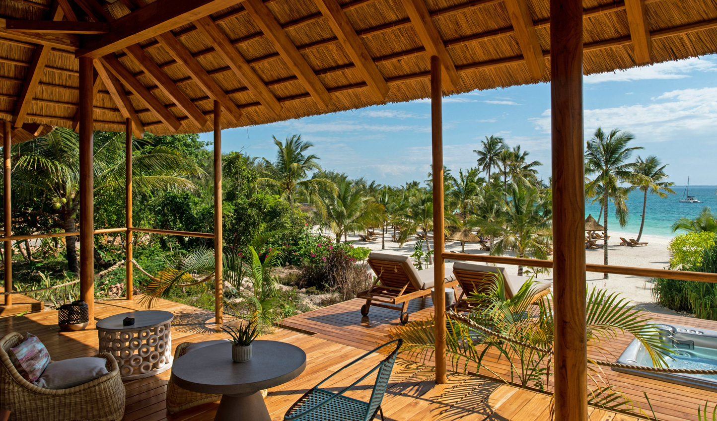 Gaze out over the Indian Ocean from your beachfront villa