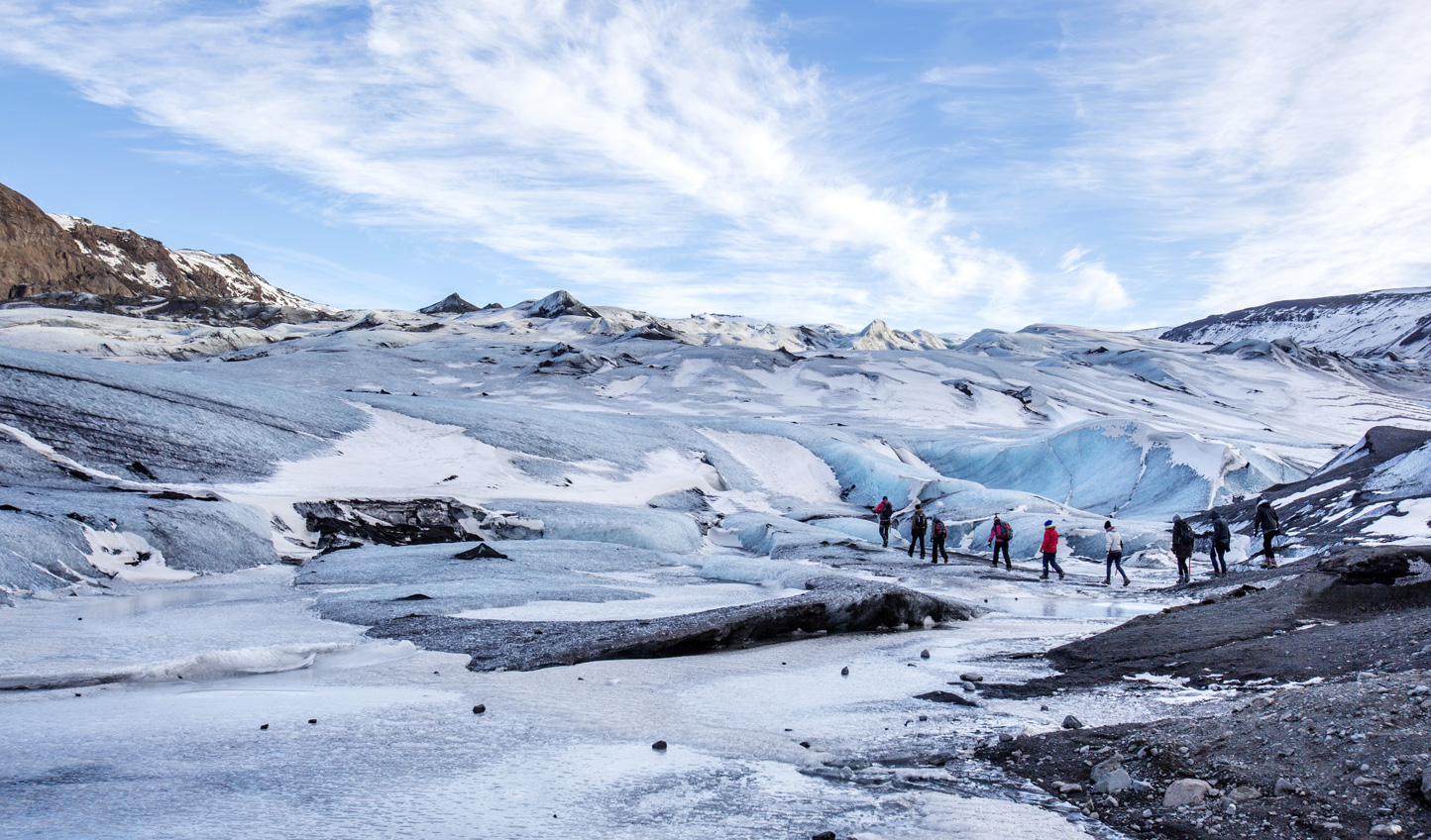 End your trip on an adrenaline-high hiking across Sólheimajökull Glacier