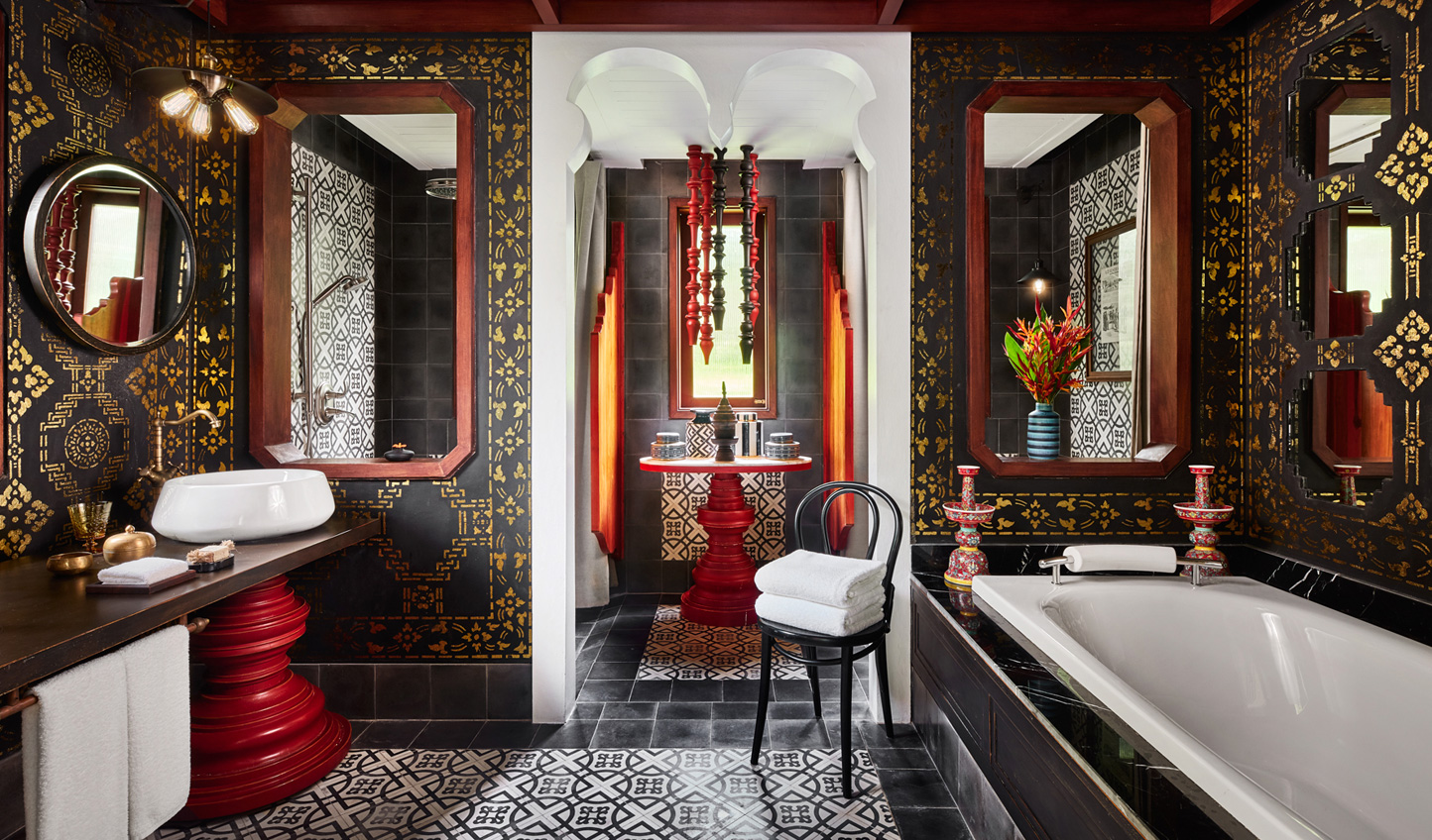 Decadent bathrooms which evoke a take on Laotian luxury